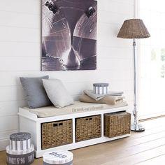 Banc de rangement en bois et coton blanc L 130 cm Comptoir des épices | Maisons du Monde