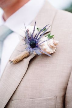 Coastal Chesapeake Bay Wedding Beach wedding boutonniere idea -unique seashell boutonniere with purple flower {Norman Photography and Paperie} Beach Wedding Flowers, Beach Wedding Reception, Beach Wedding Photos, Wedding Reception Decorations, Wedding Ceremony, Prom Flowers, Reception Ideas, Wedding Pictures, Destination Wedding