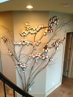 Three Sided Wall Art Tree Twig For Decor With Mountain Laurel Twigs Wood Slices Great Holiday Ornaments