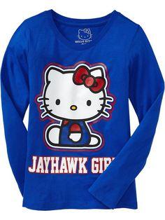 Kansas Jayhawks NCAA Girls Hello Kitty College Team Tee