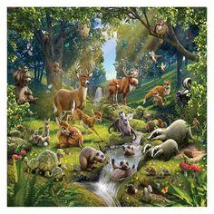"Brewster Home Fashion Walltastic Tiere des Waldes 8 'x 120 ""Fototapete - animal wallpaper Tier Wallpaper, Forest Wallpaper, Animal Wallpaper, Cool Wallpaper, Forest Mural, Woodland Creatures, Animals Images, Forest Animals, Farm Animals"
