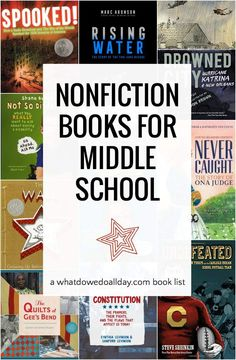 Best Nonfiction Books for Middle School (Ages Best nonfiction books for middle school students. List includes a variety of topics, and reading levels. Nonfiction books teach critical thinking and reading skills. Middle School Boys, Middle School Libraries, Middle School Reading, Middle School Science, Middle School Book List, Middle School Literature, Middle Ages, Sunday School, Reading Skills