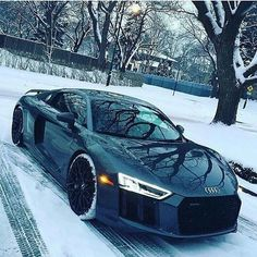 Would you drive this R8 in the snow? ❄ Via @royalwhips • •…