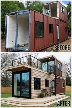 Tiny House Cabin, Tiny House Living, Tiny House Plans, Tiny Houses, Contener House, Modern Tiny House, Guest Houses, House Floor, Shipping Container Home Designs