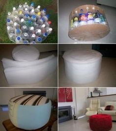 Recycle Plastic Bottles into Ottomans