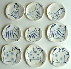 Anthea Carboni, Animal Plates I love these simple line drawings, very cute animal portraits!