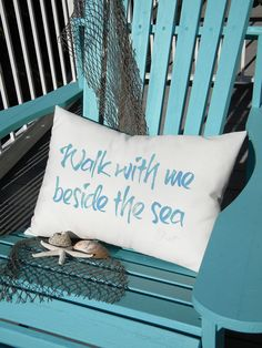 WALK WITH ME Beside the Sea outdoor pillow 15x20 by crabbychris, $38.00