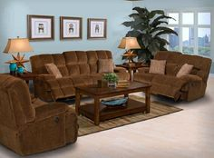 2 Pc. Chocolate Microfiber Big Bear Power Dual Reclining Sofa and Loveseat