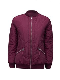Burgundy Quilted Long Sleeve Padded Bomber Jacket