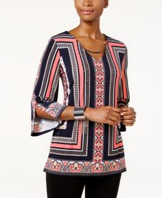 JM Collection Embellished Printed Tunic, Only at Macy's $48.99 JM Collection's printed tunic boasts hardware embellishments at the neckline for an elevated look.