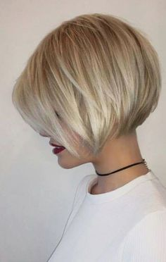 38 Trendy Inverted Short Bob Haircuts Inverted Short Bob Haircuts Inverted bob is the best way to check if you like short hair. Since this fashion trend looks like a long haircut in the fr. Inverted Bob - September 07 2019 at Inverted Bob Hairstyles, Bob Hairstyles For Fine Hair, Beautiful Hairstyles, Hairstyle Short, Bangs Hairstyle, Thin Hair Haircuts, Braid Bangs, Formal Hairstyles, Wedding Hairstyles