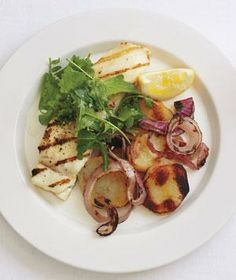 Grilled Halibut With Salt-and-Vinegar Potatoes from realsimple.com #myplate #protein #vegetables
