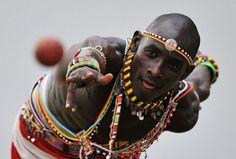 the member of Maasai Warriors team is playing cricket, Kenya