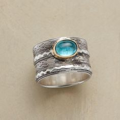 """RIVERBED RING--A textured surface and silvery streams set the scene for apatite, as clear as mountain water. Exclusive. Handcrafted of sterling silver with 14kt gold bezel. Whole sizes 5 to 9. 1/2""""W."""