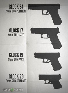 Here are all of Glock's 9mm handguns, but other manufacturer's sizes will be roughly the same.