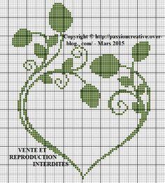 Grille gratuite point de croix : Coeur feuilles
