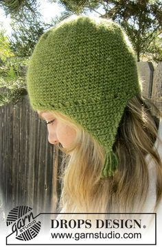 """Granny Smith - Crochet DROPS hat with ear flaps in """"DROPS ♥ YOU #4"""" or """"Nepal"""". - Free pattern by DROPS Design"""