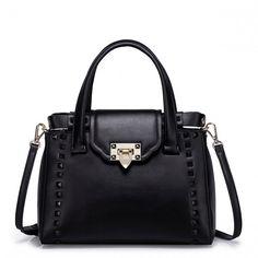 NUCELLE Kolorowa skórzana torebka z ćwiekami Czarna