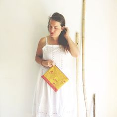 Embroidered yellow wristlet clutch, night out clutch , vegan clutch illustrated. artistic wristlet clutch