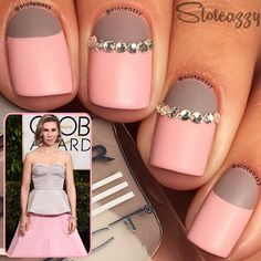 Fashion Inspired Pastel Pink Nails With Rhinestones.