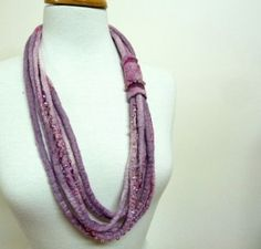 Multi strand Fiber Necklace. Pink Lavender