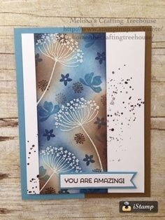 DIY handmade card using Summer Silhouettes stamp set by Stampin' Up! Techniques used are heat embossing and sponging. Great mothers day card, birthday card or just to tell somebody that they are amazing! by beth Cool Cards, Diy Cards, Stamping Up Cards, Mothers Day Cards, Sympathy Cards, Creative Cards, Flower Cards, Greeting Cards Handmade, Scrapbook Cards