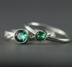 Emerald Stacking Rings May Birthstone Sterling Stack by PPennee
