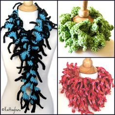 Tender Tendrils Easy Crochet Scarf Pattern with chart & instructions for 2 basic scarves plus 11 variations. Tutorial for designing your own.