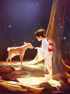 Super cute narrative & amazing light in Elaine & The Deer - fab #illustration #art by Tu Tu