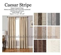 Caesar Stripe Faux Silk Curtain Panels with Blackout Lining and Grommet opt