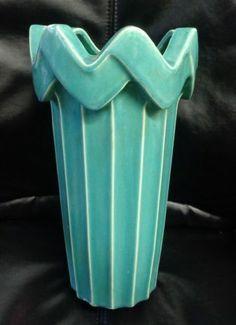 Vintage McCoy Sea Form Green Porcelain 18inch Vase