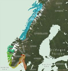 A map of eighth and ninth century Norway showing the many petty kingdoms arranged along the coastline, although penetration into the interior is beginning