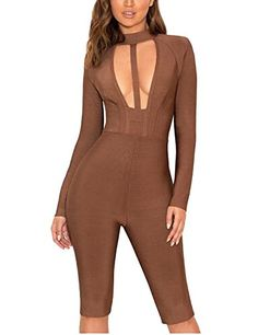 377893d8e6ae Whoinshop Womens Long Sleeve Open Front Halter Kneelength Bandage Pants  Club Jumpsuit Romper Brown M   More info could be found at the image url.