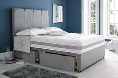 Grey suede divan bed base - 4ft6 #small double - #single - 5ft - 6ft #super king,  View more on the LINK: 	http://www.zeppy.io/product/gb/2/331772858814/
