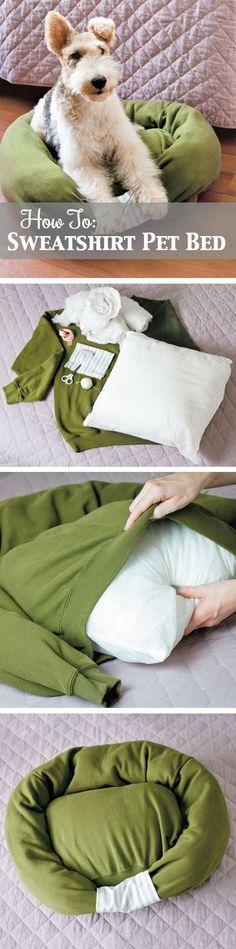 Sweatshirt Pet Bed. DIY