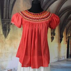 Peach Color Hand Embroidered Blouse, Maya Chiapas Mexico, Hippie, Boho, Cowgirl #Handmade #blouse