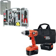 Black and Decker Cordless Drill with 130-Piece Hand Tool Set Value Bundle  $69.88
