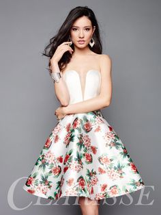 Fun Floral Homecoming Dress 3302 by Clarisse. Short strapless Mikado dress with floral a-line print skirt. COLOR: Ivory/Mult, Black/Multi SIZE: 0-20 Find this beauty before it's gone and see more from the Clarisse 2017 Fall Collection by finding your local retailer at the link below! http://clarisse.com/locator/index.php