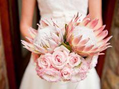 Wedding bouquet of proteas photo