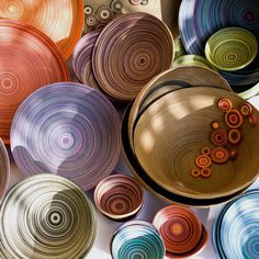 cuencos de colores, papel, diseño, objetos, decocoracion, hecho a mano