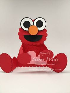 Elmo Punch Art Card by shargod - Cards and Paper Crafts at Splitcoaststampers Paper Punch Art, Punch Art Cards, Paper Art, Craft Punches, Valentine Day Cards, Valentines, Kids Cards, Baby Cards, Card Tags