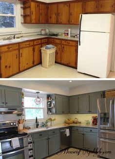 inexpensively update old flatfront cabinets by adding trim paint