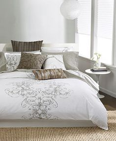 Bar III Vintage Scroll Bedding Collection - Bedding Collections - Bed & Bath - Macy's | Queen Duvet Cover = $68 | Queen Comforter = $88