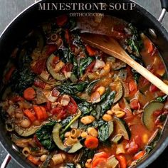 Minestrone Soup Packed with vegetables bacon and pasta this soup makes for a hearty filling and delicious meal. Stuffed Pepper Soup, Stuffed Peppers, Chorizo Rice, Bean Soup, Paella, Soup Recipes, Entrees, Bacon, Yummy Food
