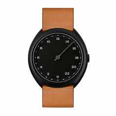 Brown Vintage Leather, Black Case, Black Dial