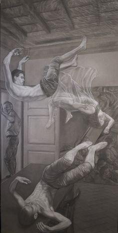 """""""Mythica monstra et vanae spes"""" left panel pencil and white conté  cm 100x200"""
