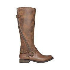 SINCLAIR COGNAC LEATHER women's boot flat casual - Steve Madden