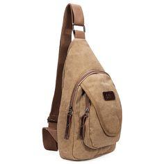 Men Canvas Outdoor Chest Pack Shoulder Bag 1a657dc61fb4d
