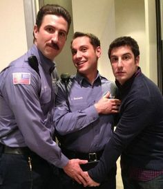 Male Cast Members of Orange is the New Black goofing off on set.