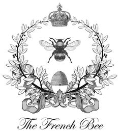 The French Bee Etiqueta Postal Francesa Abeja Blanco Y Negro